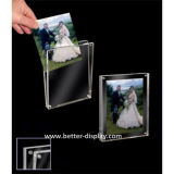 Transparente Acrílico Orgânico Vidro Dupla face Moldura magnética