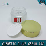 100g Round Aluminium Lid Frosted Empty Creme Cosmetico Glass Jar