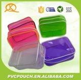 PVC promotionnel Kqs 0,2mm rectangle clair sac cosmétique avec fermeture à glissière