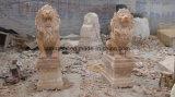Escultura amarela de mármores Escultura de jardim de leão para decoração de jardim