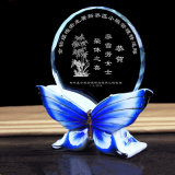 Butterfly Base Crystal Glass Trophy Artisanat pour Décoration