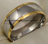 Shinemeの高品質の宝石類のチタニウムの切り分ける金の指輪(Tr1912