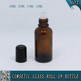 rolo de vidro ambarino de 30ml 20ml 15ml 10ml no frasco com rolo