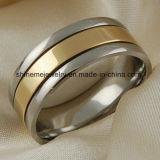 Shineme 고품질 보석 티타늄 새기는 금 반지 (Tr1912