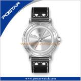 La coutume dernier cri de courroie en cuir de caisse d'acier inoxydable d'OEM de mode possèdent la montre de marque