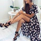 Платье повязки V-Шеи разреза женщин способа шифоновое напечатанное