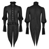 Gothic Lace Puff Sleeves Brocade Swallow-Tailed Men Shirts (Y-739)