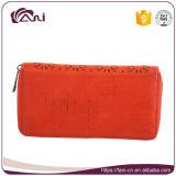 Бумажник 2017 женщин застежки -молнии PU померанцового красного цвета кожаный