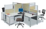 Moderner bunter Büro-Arbeitsplatz mit Vorstand und Glaspartition (SZ-WS671)