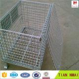 Acoplamiento de alambre Contenedor / apilable jaula de almacenamiento / cesta del metal