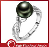 14k Tahitianの真珠およびダイヤモンドが付いている白い金の指輪