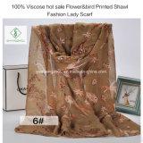 100% dickflüssige heiße Verkaufs-Flower&Bird gedruckte Schal-Form-Dame Scarf