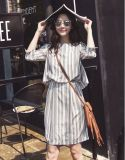 Hemd-Kleid der spätesten Streifen Rund-Stutzen Frauen