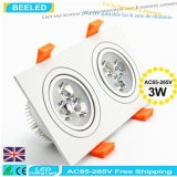 6W는 백색 사각 알루미늄 고성능 Dimmable LED Downlight를 데운다