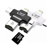 Tipo 4 em 1-C/raios/Micro USB/leitor de cartões de memória USB 2.0 de leitor de cartão Micro SD para o Android iPad/iPhone 7plus 6s5s OTG Reader