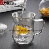 350ml Conjunto de copo de chá de vidro popular / Conjunto de copo de chá de vidro borosilicato resistente a mão e quente