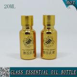 20ml galvanizam o frasco de petróleo essencial do vidro do ouro com tampão do ouro e plugue do redutor