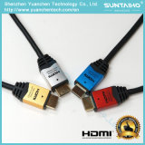 Cable plateado oro de aluminio de alta velocidad del shell 24k HDMI con Ethernet 1.4V