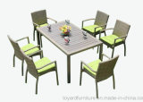 Nova Temporada Pátio Rattan Wicker Grey Polyed Rectangle Table e 6PCS Dining Chair Outdoor Garden Furniture
