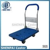 carro de dobramento plástico azul da mão 200kg com rodas do plutônio