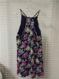 Strand-Frauen-Kleid Blumendruck-Chiffon- Afrika-Strappy MIDI
