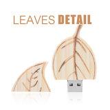 Vara ambiental do USB da movimentação de madeira por atacado do flash do USB da forma de folha