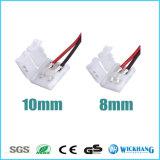 8mm 3528単一カラーLED滑走路端燈のための2つのPin Solderlessのコネクターケーブル