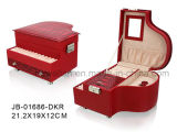 Красная Коробка Ювелирных Изделий PU Кожаный с Подносом