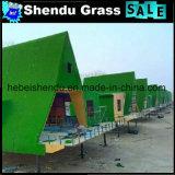 grama da falsificação do verde da densidade 18900tuft de 20mm para a decoração do edifício