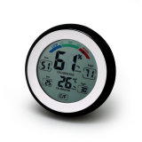 La forma redonda de la pantalla táctil de interior / termómetro al aire libre con la humedad y comodidad Nivel