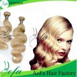 Jungfrau-Haar-Menschenhaar-Einschlagfaden der Großhandelsfarben-613# indischer