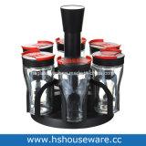 Vaso della spezia e bottiglia di vetro liberi rotativi a un solo strato del Cruet