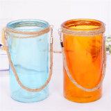 Jarrón de vidrio coloreado de yute con asa de cuerda