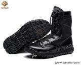Польностью кожаный черные воинские тактические ботинки с удобным воротом (WTB030)