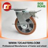 Rodízio giratório com freio Roda PU com centro de alumínio