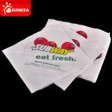 La menta verde / Flor roja de la cena servilleta de papel