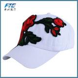 Rose Bordados Hat Mulheres Homens Boné Floral de algodão ajustável