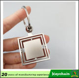 Espacio en blanco barato Keychain de la hoja de metal de la insignia de encargo