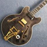 Guitare Jazz de corps creux personnalisé avec l'érable Rafale Trans-Gray matelassée couleur (TJ-260)