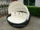 Патио Sunlounge с навесом обставлены плетеной мебелью кровать с навесом (YTF178) двойным