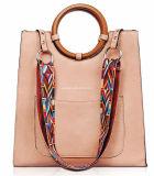 Nuovo sacchetto superiore di cuoio alla moda della maniglia dell'unità di elaborazione con la cinghia variopinta