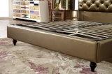 2017現代方法贅沢なデザイン本革の頭板の柔らかいベッド
