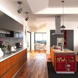 Cabinet de cuisine rouge d'armature en bois plein de cerise de modèle américain