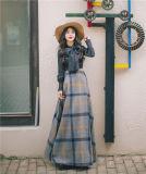 デザイナー冬の秋の格子縞のマキシの長い方法女性のスカート