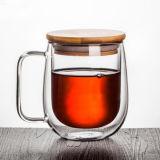 Personnaliser la tasse de café en verre de cuvette de lait de mur de double de tasse en verre de lait