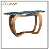 Agate Royalblue haut Golden Table à café de base en acier inoxydable