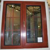 Ventana de madera de aluminio del marco de la rotura termal colorida de la alta calidad con el vidrio multi del doble del bloqueo con la red K03045