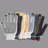 Безопасность рабочей хлопка DOT перчатки с черными точками PVC