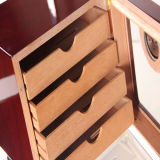 여송연 습도계 & 가습기 부속품 (ES-EB-004)를 가진 4개의 층 서랍 스페인 삼목 목제 담배 저장 상자
