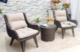 Table basse de sofa de rotin de PE de 3 PCS avec le coussin